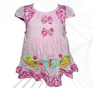 Cotton Frock Bow Design For Baby Girl - Pink