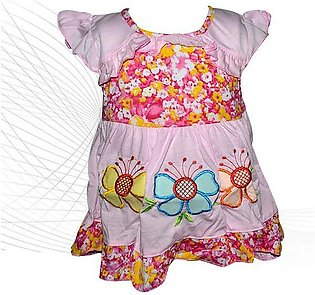 Pink Butterfly Flower Style Frock For Baby Girl
