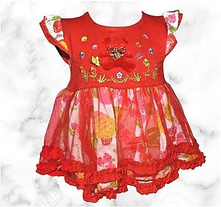 Teddy Bear Frock For Baby Girl - Red