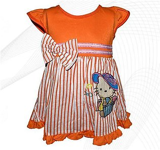 Hello Kitty Style Frock For Baby Girl - Orange