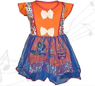 Minnie Mouse Printed Frock For Baby Girl  - Orange