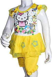 Summer Baby Girl Cartoon Printed Frock - Yellow