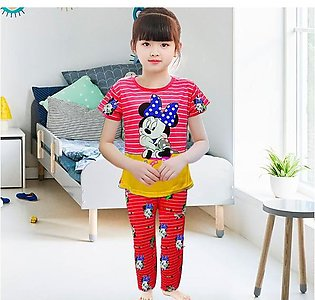 Mickey Mouse Printed Night Suit For Kids - Red