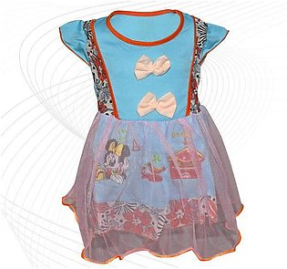 Minnie Mouse Printed Frock For Baby Girl  - Sky Blue