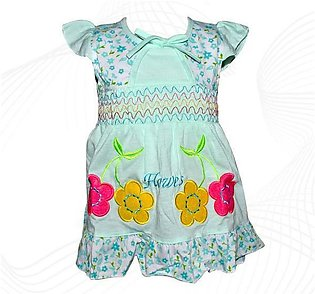 Cotton Frock For Baby Girl - Sea Green