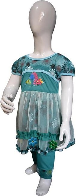 Net Frill Frock Green Color For Baby Girls