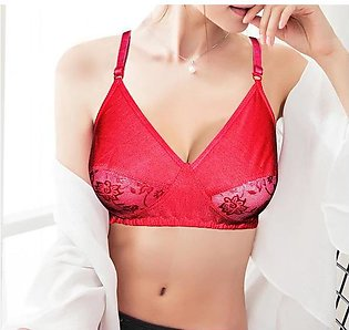Duet Lace Non Padded Soft Cotton Demi Bra - Red