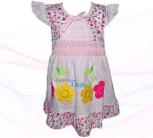 Cotton Frock For Baby Girl - Pink