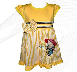 Hello Kitty Style Frock For Baby Girl - Yellow