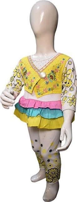 Vest Coat Style Frock Yellow Color For Baby Girl
