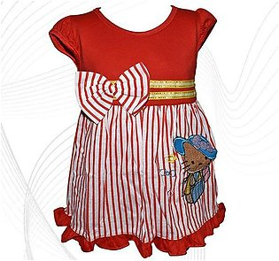 Hello Kitty Style Frock For Baby Girl - Red