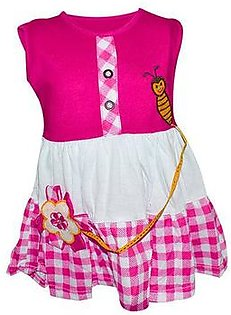 Bee Embroidery Frock For Baby Girl - Pink