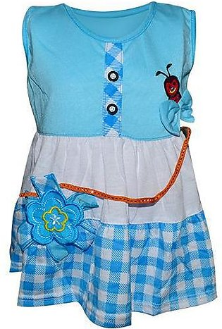 Bee Embroidery Frock For Baby Girl - Blue