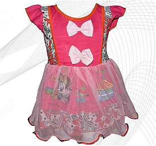 Minnie Mouse Printed Frock For Baby Girl  - Pink