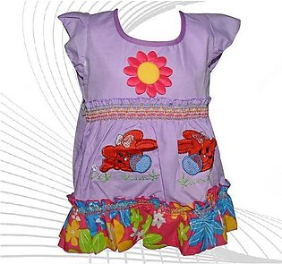 Center Flower With Rabbit Printed Frock For Baby Girl - Purple