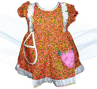 Mini Strawberry Printed Frock With Mini Bibs For Baby Girl
