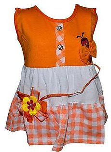 Bee Embroidery Frock For Baby Girl - Orange