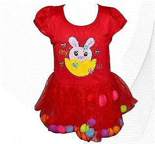 Kitty Baby Frock With Fluffy Balls - Red