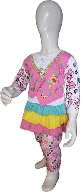 Vest Coat Style Frock Pink Color For Baby Girl