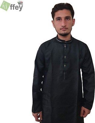 Black Kurta With White Pipin For Men