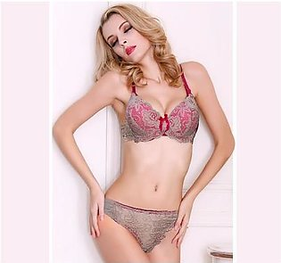 Skin Net & Pink Lace Padded Push Up Wired Bra for Ladies