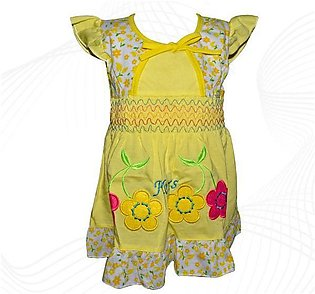 Cotton Frock For Baby Girl - Yellow