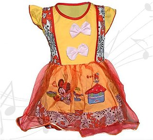 Minnie Mouse Printed Frock For Baby Girl  - Yellow