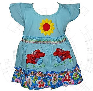 Center Flower With Rabbit Printed Frock For Baby Girl - Sky Blue