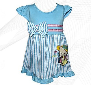Hello Kitty Style Frock For Baby Girl - Sky Blue