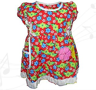 Mini Flower Printed Frock With Mini Bibs For Baby Girl - Red