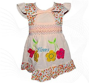 Cotton Frock For Baby Girl - Peach