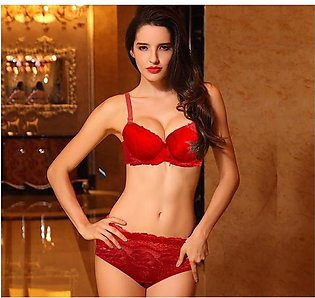 Fully Floral Lacey Padded Wired Bra and Panty Set - Red