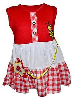 Bee Embroidery Frock For Baby Girl - Red