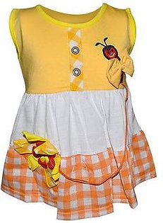 Bee Embroidery Frock For Baby Girl - Yellow