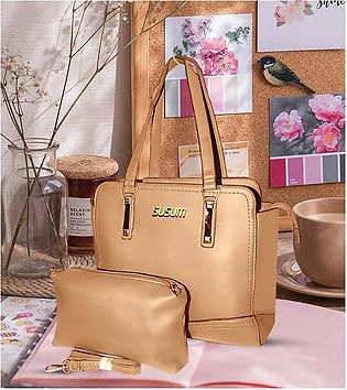 Classic PU Leather Handbag with Wallet for Ladies - Beige