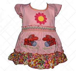 Center Flower With Rabbit Printed Frock For Baby Girl - Pink