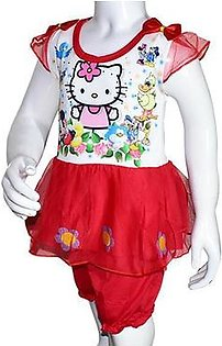 Summer Baby Girl Cartoon Printed Frock - Red
