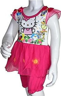 Summer Baby Girl Cartoon Printed Frock - Pink