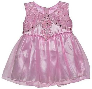 Fairy Pink Pearls Frock With Net Frill - Pink