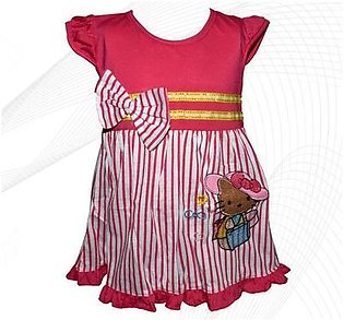 Hello Kitty Style Frock For Baby Girl - Pink