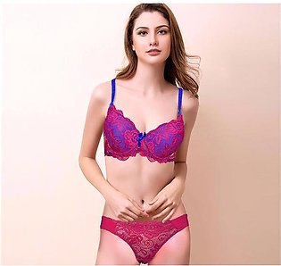 Red Net & Blue Lace Padded Push Up Wired Bra for Ladies