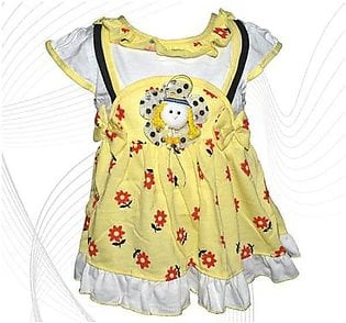 Doll Face Frock For Baby Girl - Yellow