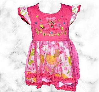 Teddy Bear Frock For Baby Girl - Pink