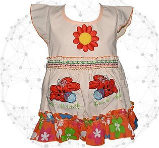 Center Flower With Rabbit Printed Frock For Baby Girl - Peach