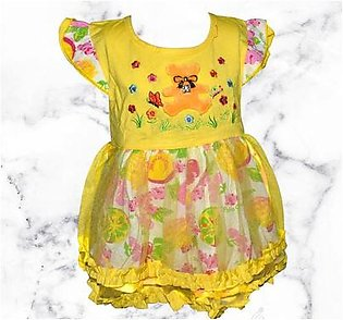 Teddy Bear Frock For Baby Girl - Yellow