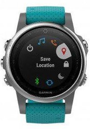 Garmin Fenix 5S Multisport GPS Watch Silver With Turquoise Band