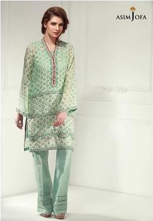 Asim Jofa AJ-390 Luxury Pret Self Jacquard Organza Shirt - Mint Green
