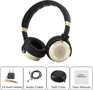 Mi Fold-able Over Ear Hi-Fi Stereo Headset with Built-in Mic - Black & Gold