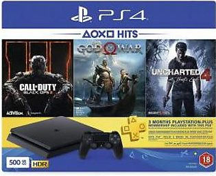 Sony CUH-2216A PS4 Slim 500GB HDR - Jet Black & 3 Games Pack (Call Of Duty: Black Ops 3 + God Of War + Uncharted 4)