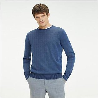 Tommy Hilfiger Tailored Wool And Cotton Crewneck Sweater - True Navy